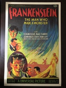1931 Frankenstein Movie Theatre Lobby Card Poster