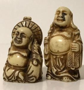 PAIR of Faux Ivory Chinese Buddha Netsuke/Figures