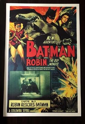 1949 Batman & Robin Movie Lobby Card Poster