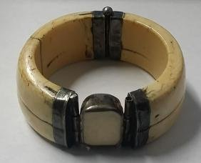 Large Chinese Sterling & Bone Cuff Bracelet