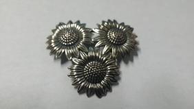 Sterling Silver Vintage Sunflower Brooch
