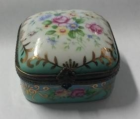 Vintage Hand Painted Porcelain Trinket Box