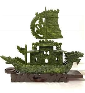 LG. Hand Carved Natural Jade Chinese Dragon Boat