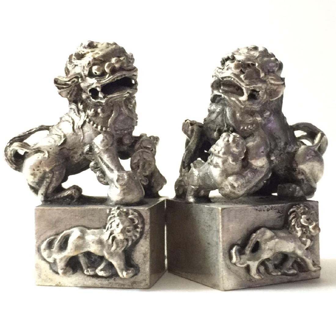 Solid Tibet Silver KYLIN Temple Guardian FOO DOGS