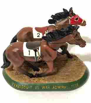 Rare 1938 Sea Biscuit vs War Admiral Bobble Horses