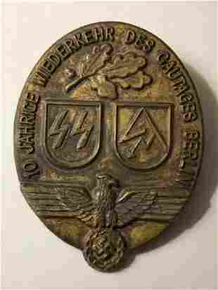 German Nazi Swastika SA Party Day Member Badge