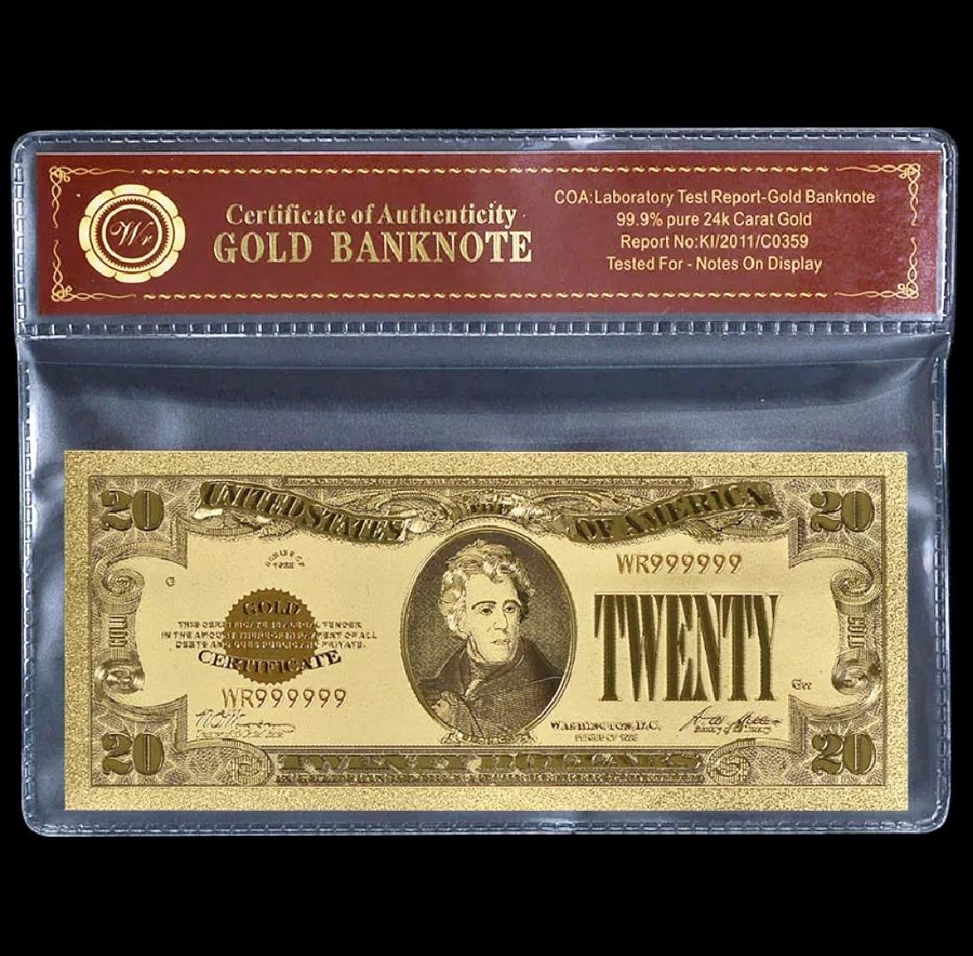1928 Pure 24k Gold $20 Gold Certificate Banknote