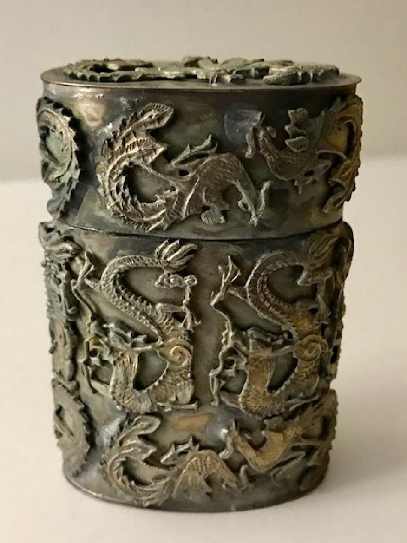 Old Handmade Chinese Silver Tobacco Snuff Box