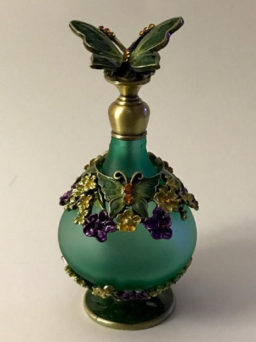 Jeweled & Enameled Butterfly Top Perfume Bottle