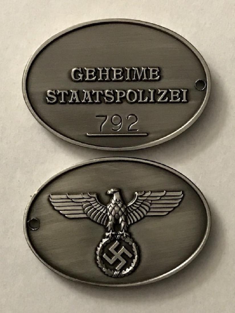 zi German Secret State Police Gestapo Badge