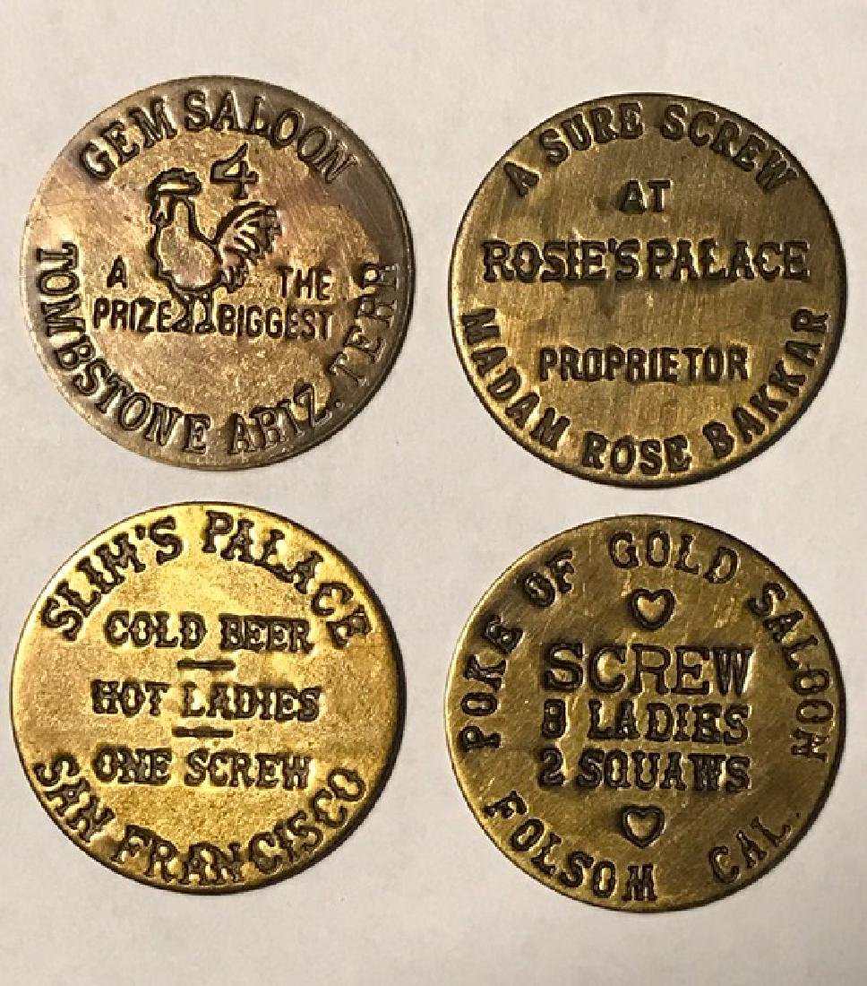 Lot of 4 Asst. Old West Whore House Brothel Tokens