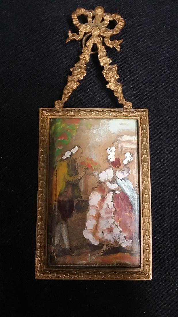 Vintage Miniature Painting With Bonze Frame