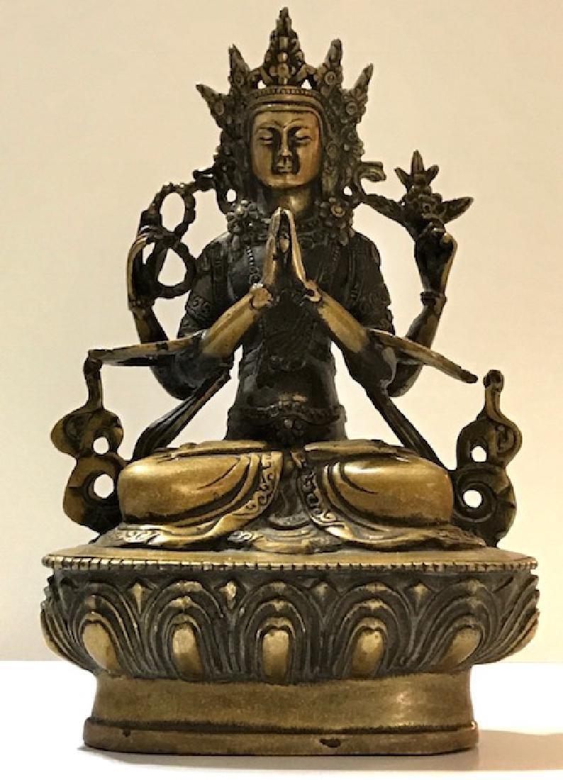 Old Solid Gilt Bronze Tibetan Praying Buddha Statue