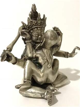 Old Tibetan Silver MANDKESVARA Yab-Yum Sex BUDDHA