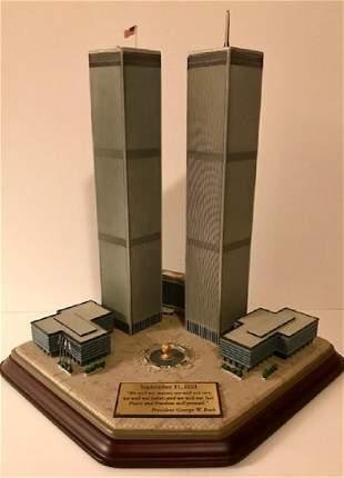 "VTG. Rare DANBURY MINT ""Twin Towers"" Sculpture"