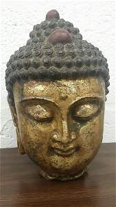 Heavy And Vintage Gilded Bronze Kwan Yin Bust
