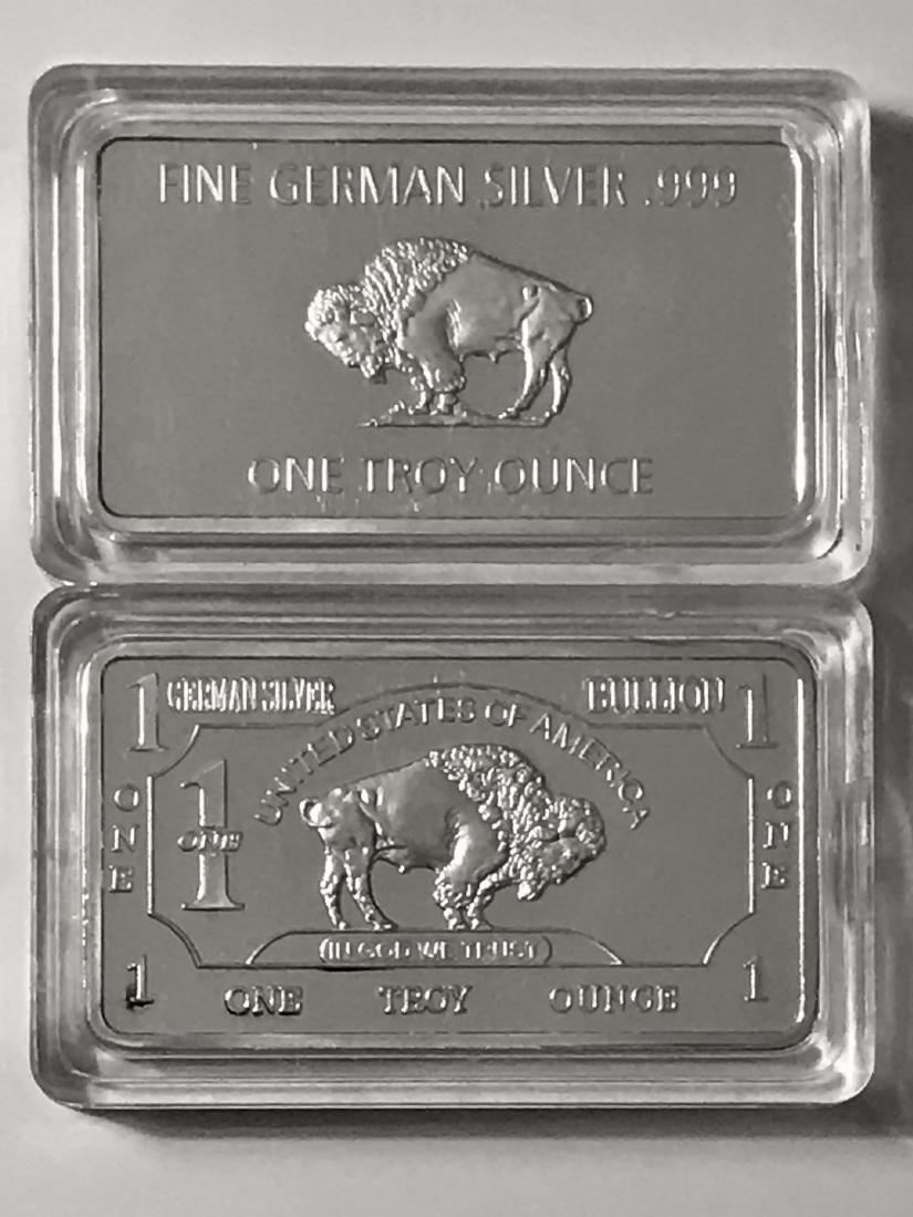 1 Troy Oz. Fine German Silver Buffalo Bullion Bar