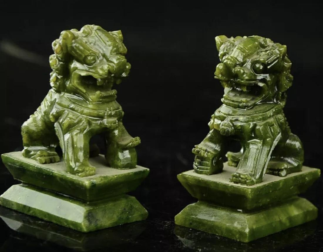 Hand Carved Natural Jade Temple Guardian FOO DOGS