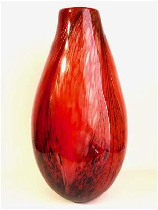 Large MURANO Italy Ruby/Gold Spun Art Glass Vase