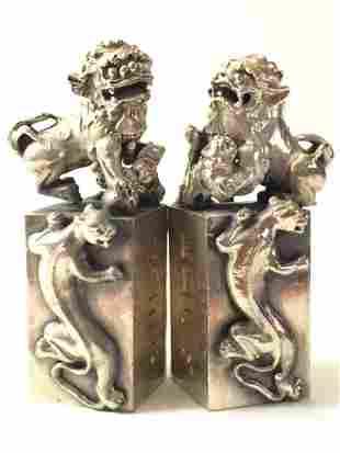 Solid Tibet Silver KYLIN Temple Guardian FOO DOGS
