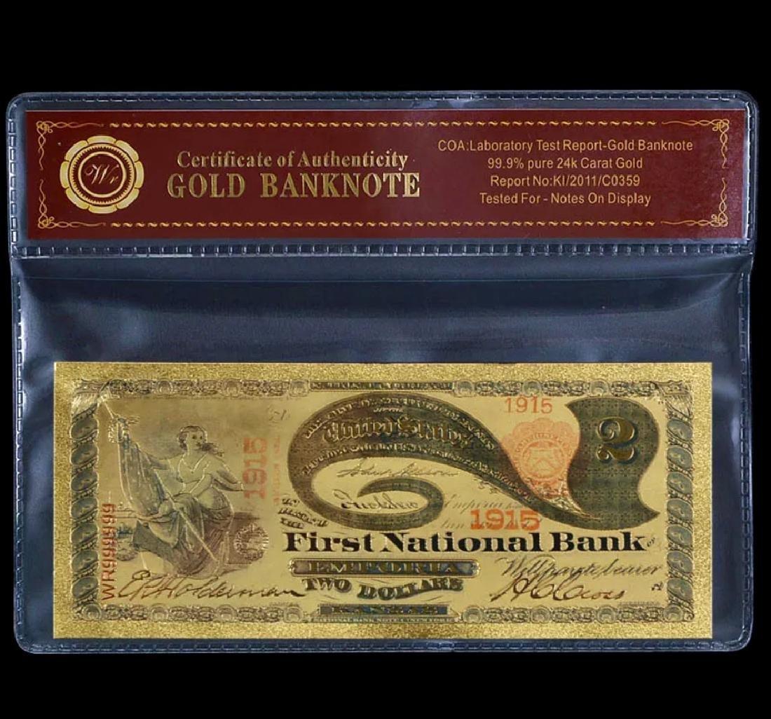 1875 Emporia Lab Tested 24k Gold $2 U.S. Banknote