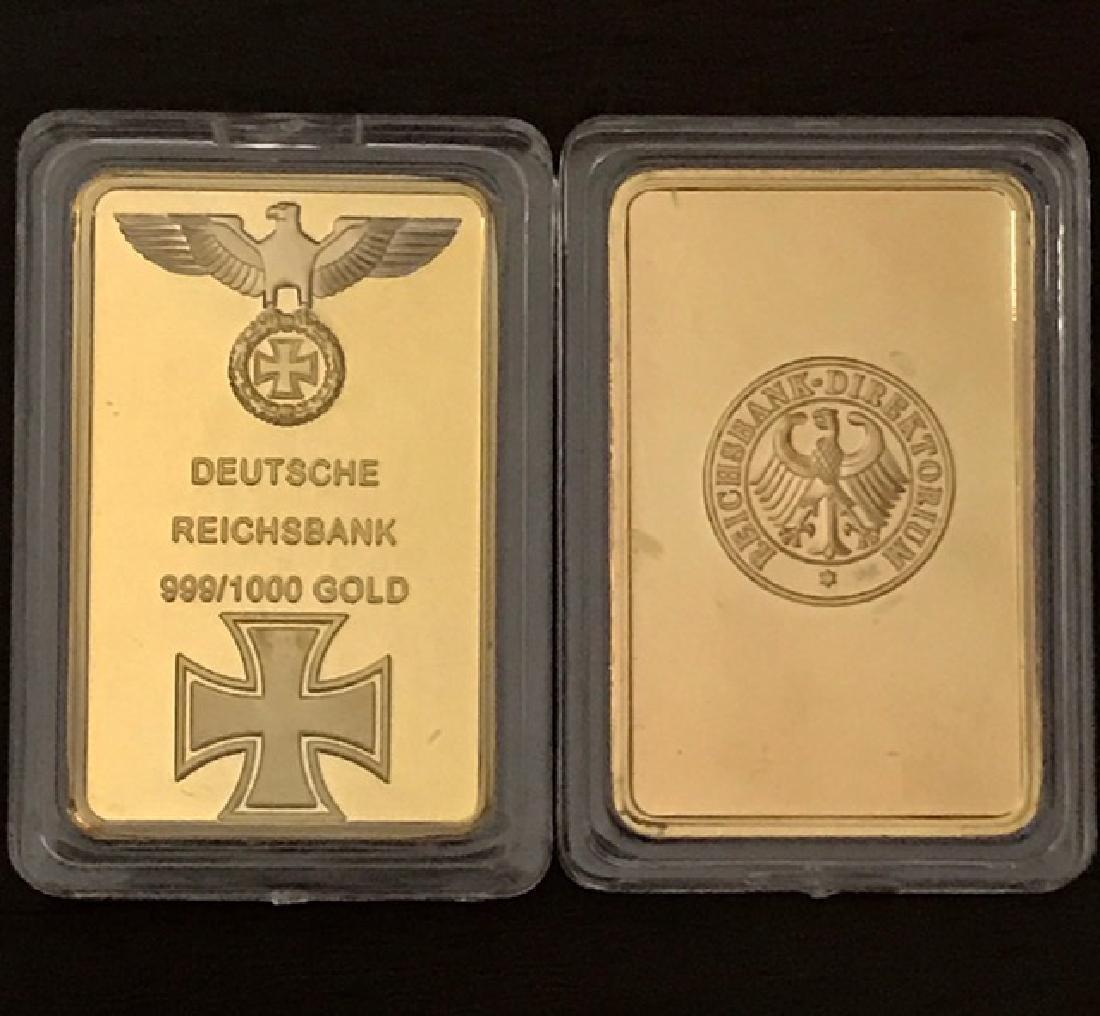 1oz .999 German Deutsche REICHSBANK Gold Clad Bar