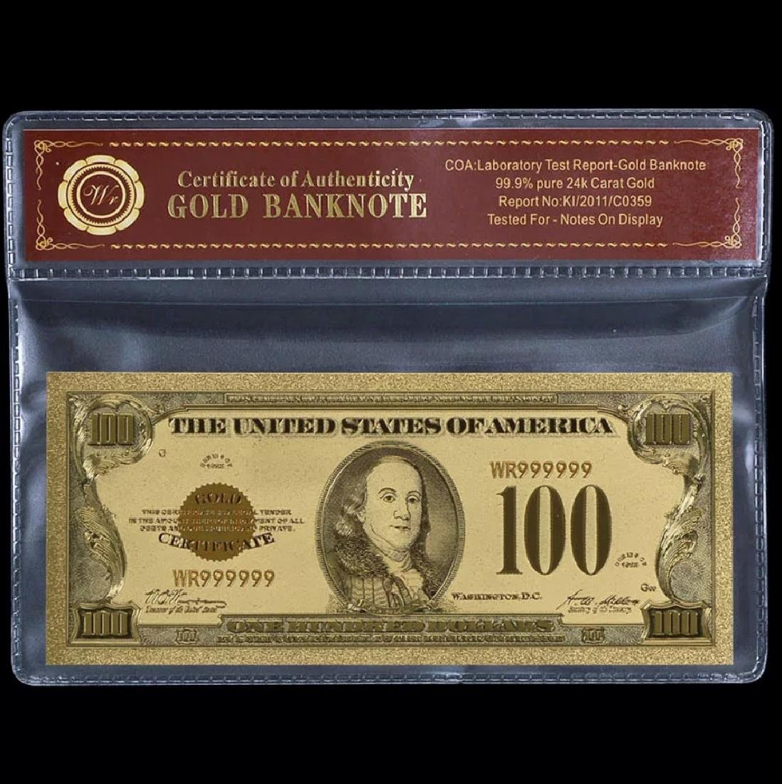 1928 Lab Tested $100 Gold Certificate Banknote