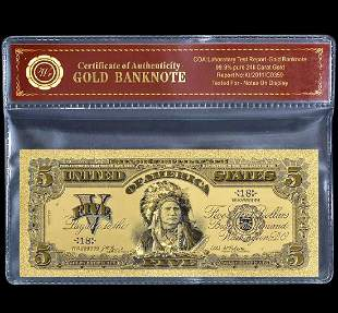 1899 Tested 24k Gold Indian $5 Gold Certificate