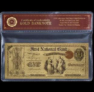 1875 – Labe Tested 24k Gold $1 U.S. Banknote