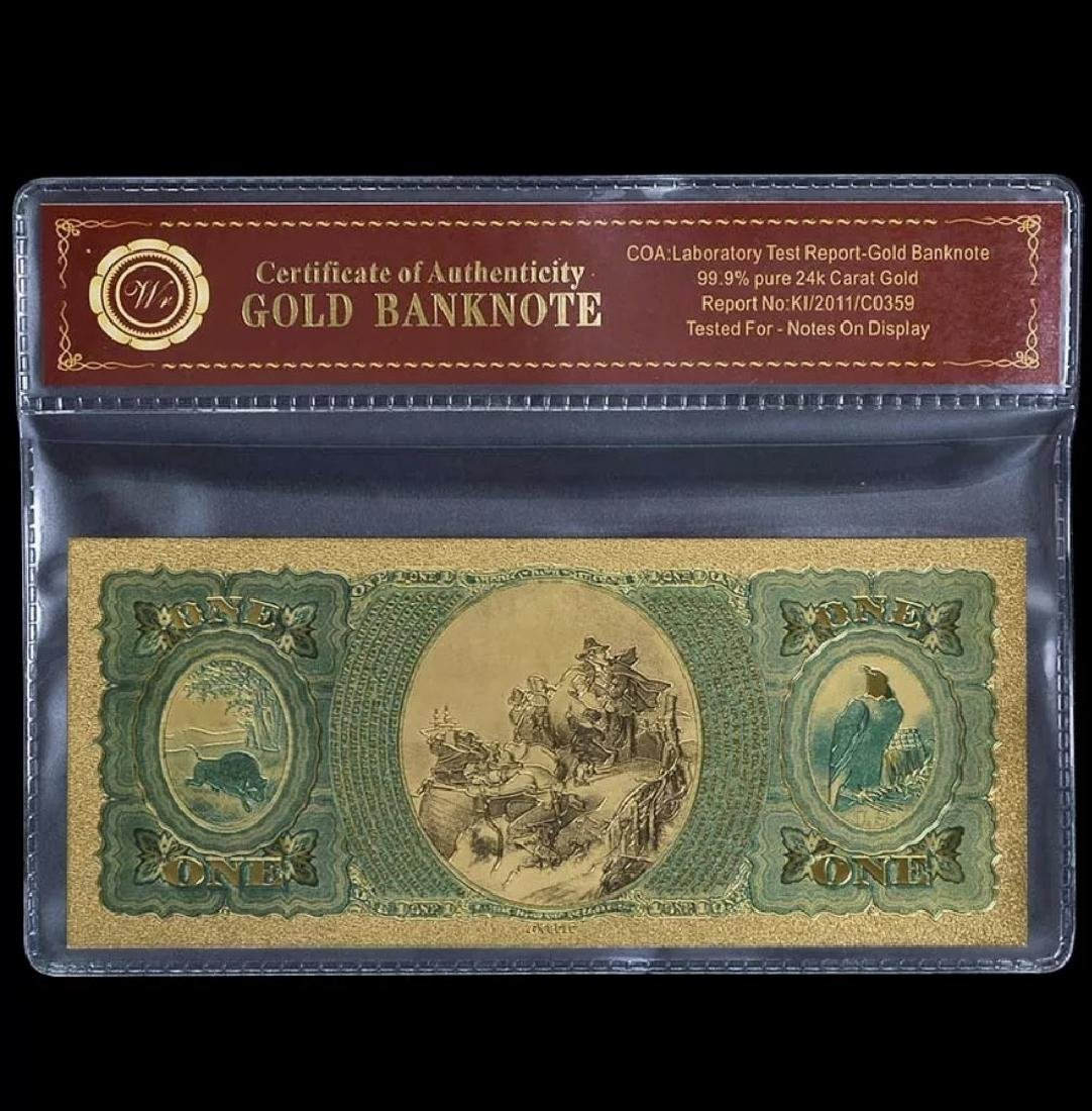 1875 – Labe Tested 24k Gold $1 U.S. Banknote - 2
