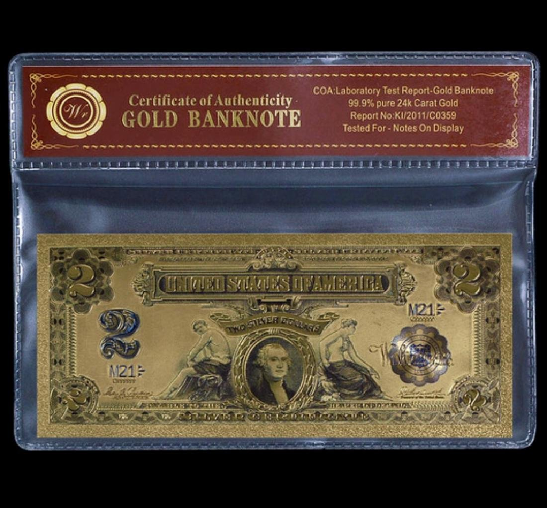 1899 Lab Tested 24k Gold $2 Silver Certificate