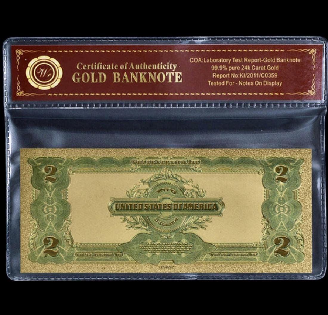 1899 Lab Tested 24k Gold $2 Silver Certificate - 2