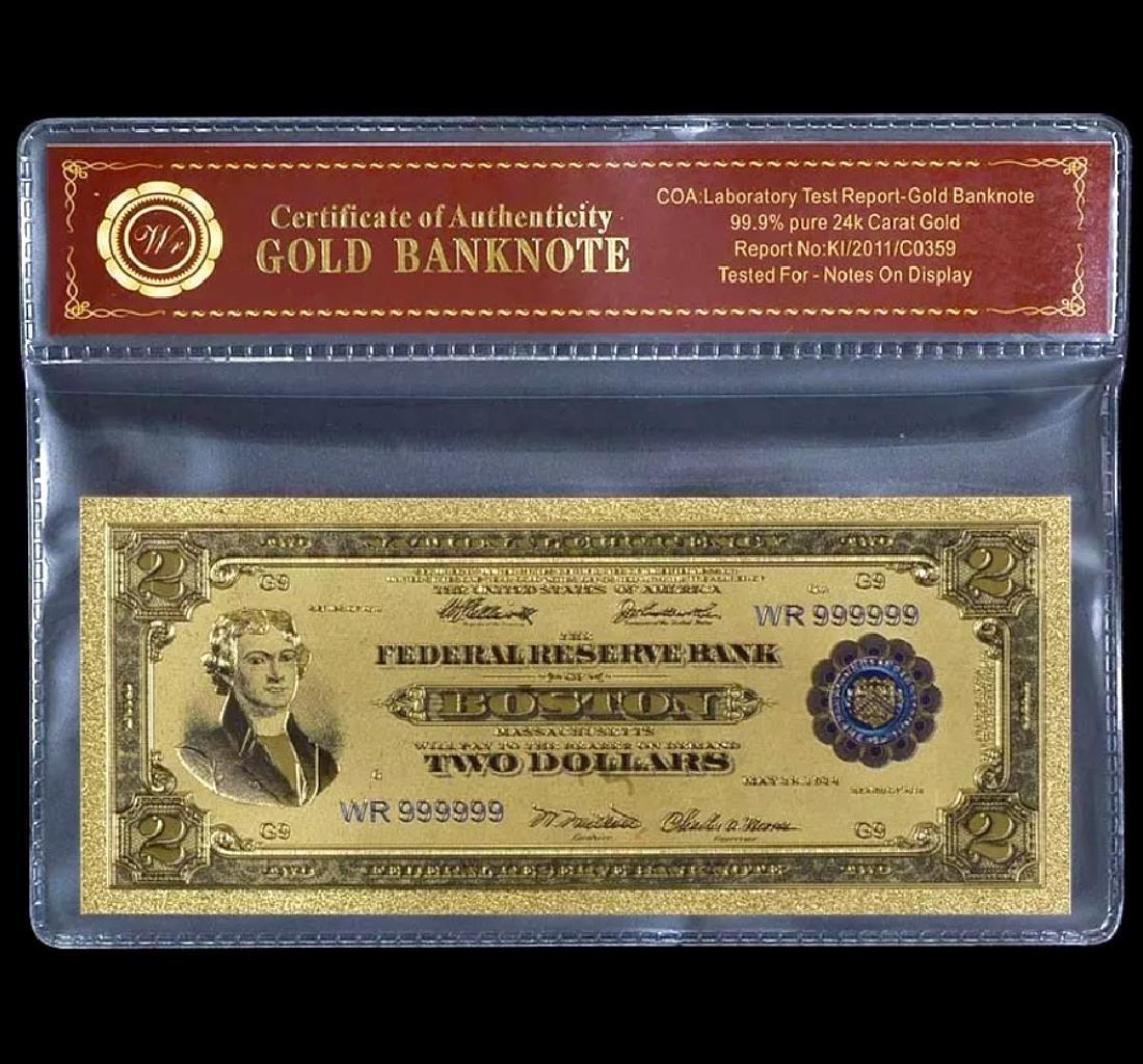 1918 Lab Tested 24k Gold $2 U.S. Banknote