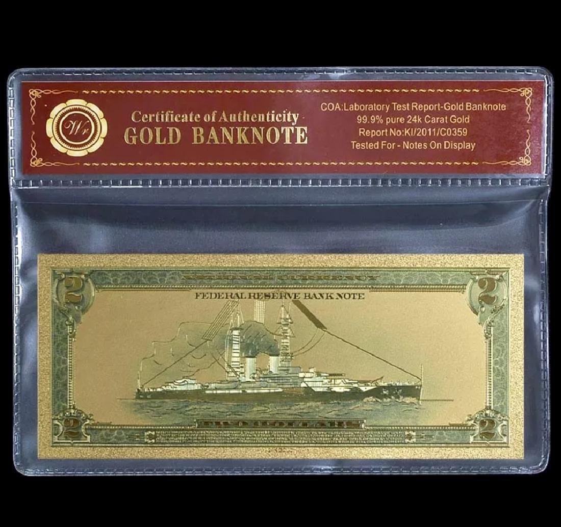 1918 Lab Tested 24k Gold $2 U.S. Banknote - 2