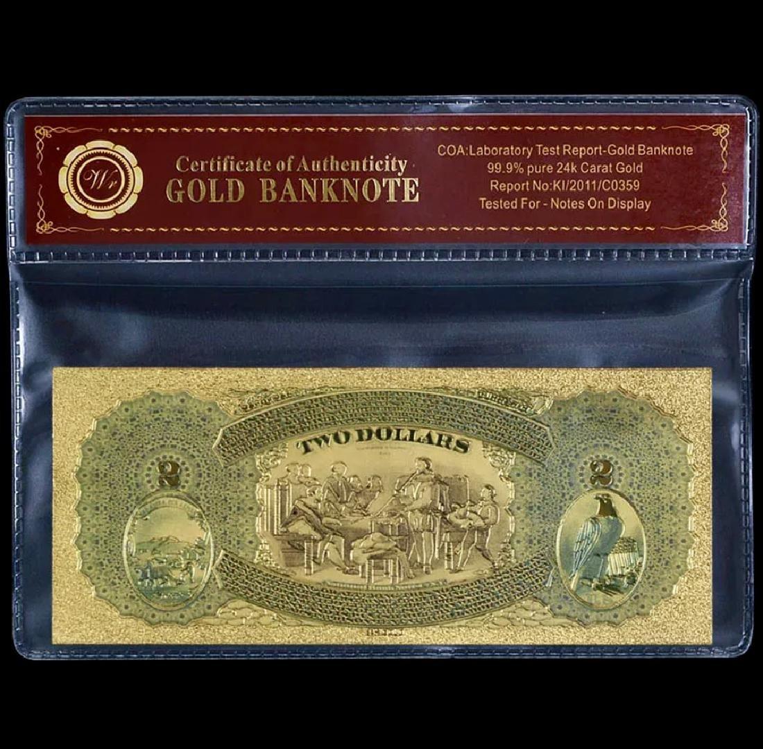 1875 Emporia Lab Tested 24k Gold $2 U.S. Banknote - 2