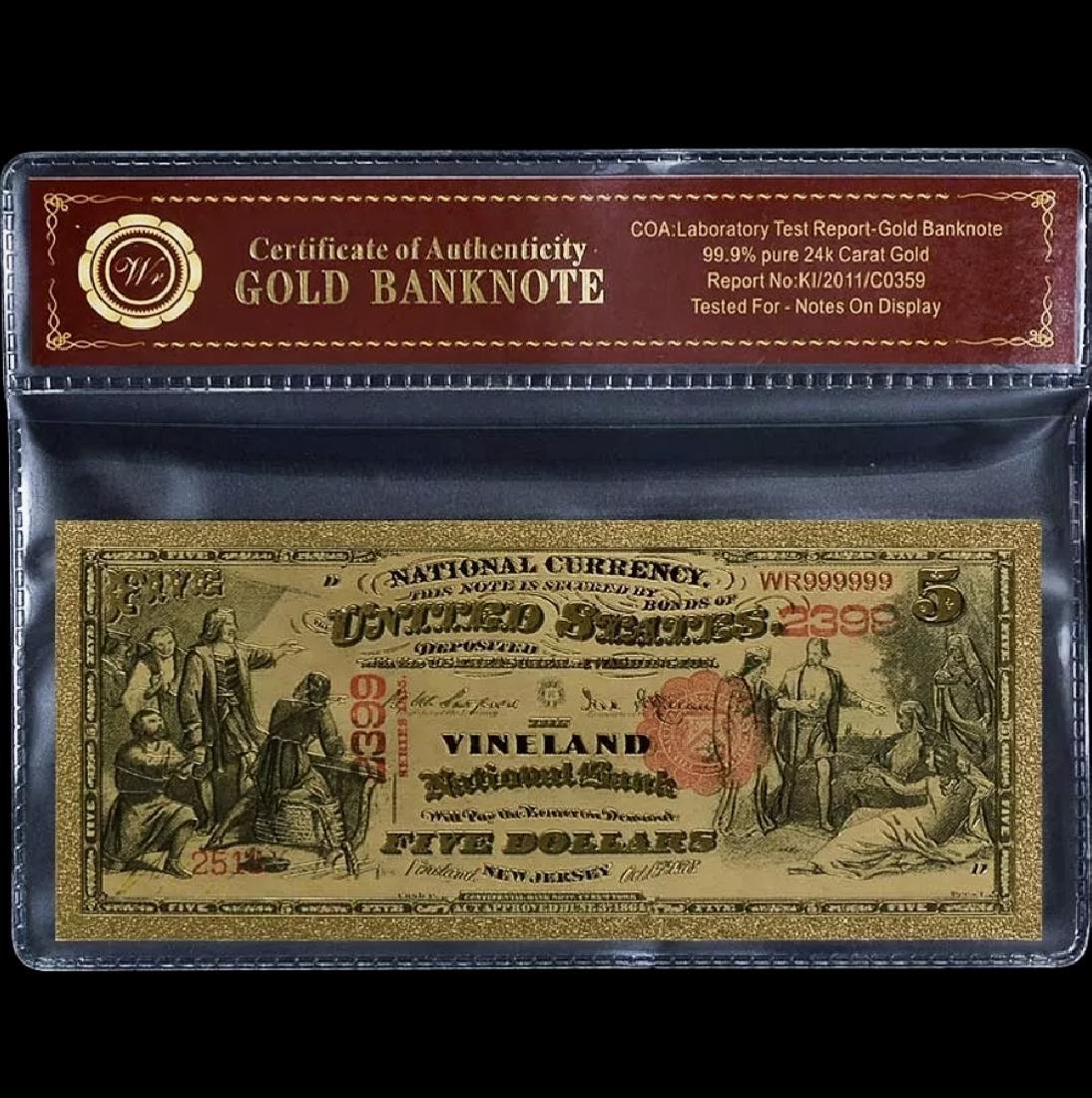 1875 Lab Tested 24k Gold $5 U.S. Banknote