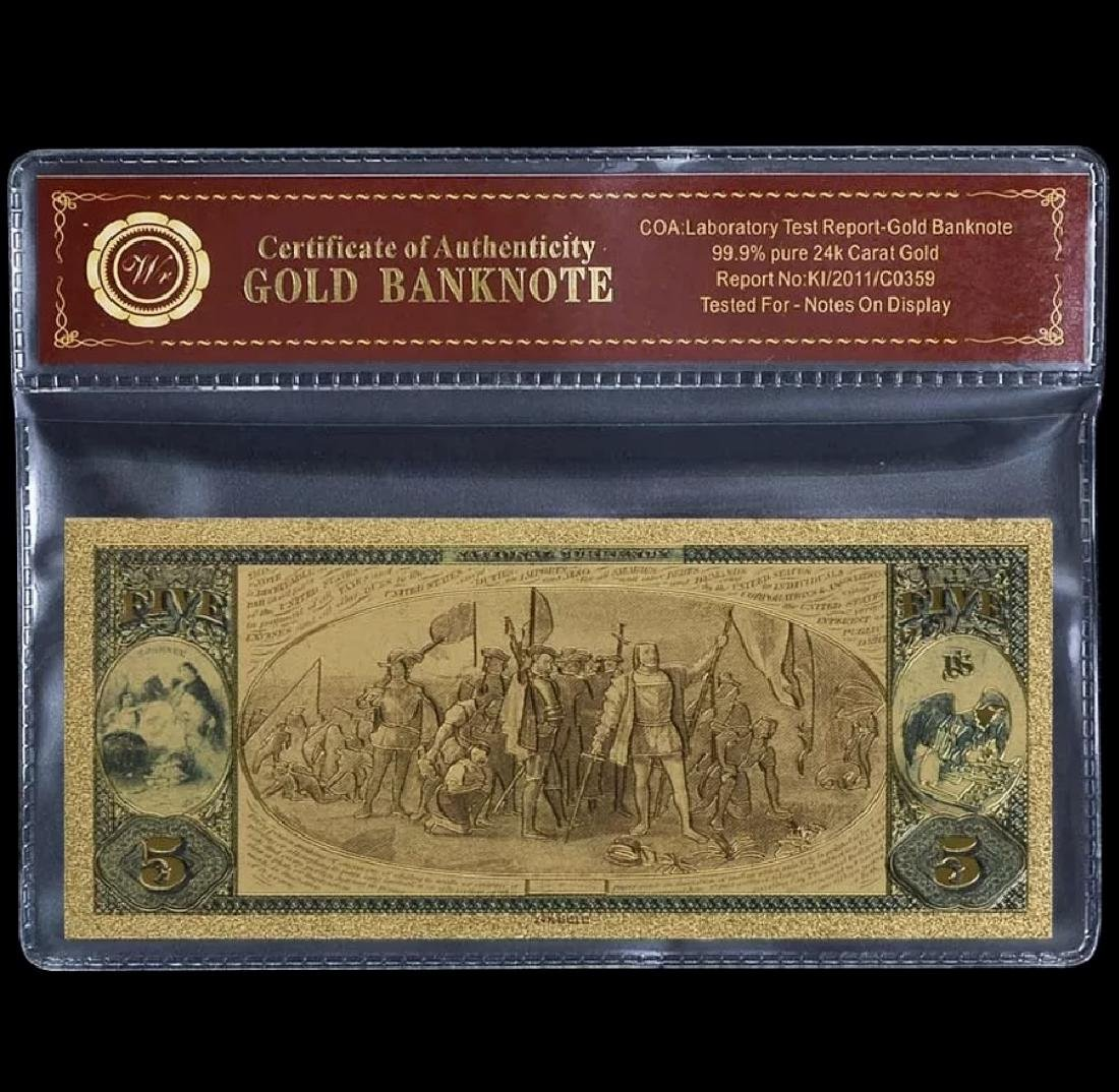 1875 Lab Tested 24k Gold $5 U.S. Banknote - 2