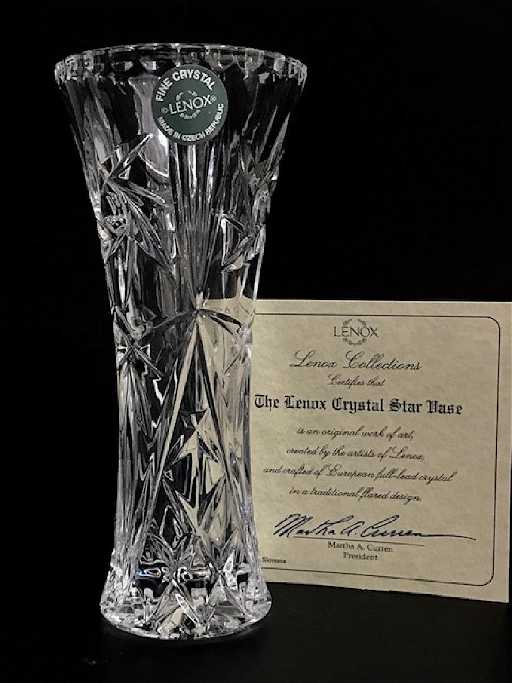 Lenox Cut Crystal Star Vase With Coa