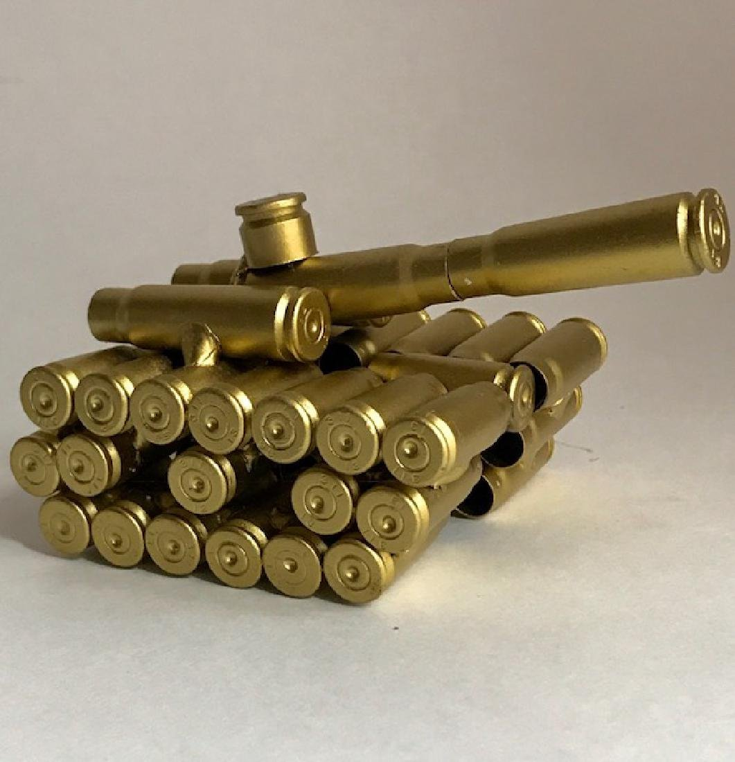 Handmade Folk Art Recycled Bullets Military Tank