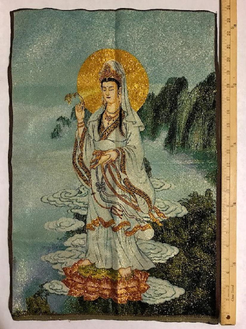Chinese Hand Embroidered Silk Buddha Tapestry