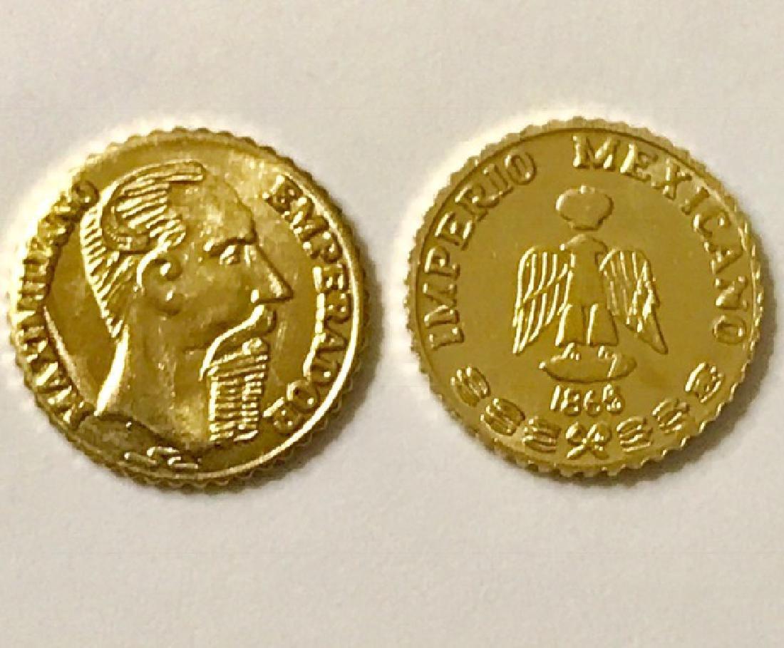 Lot of 2 – 1865 MAXIMILLIANO 0.5 Gram GOLD Pesos