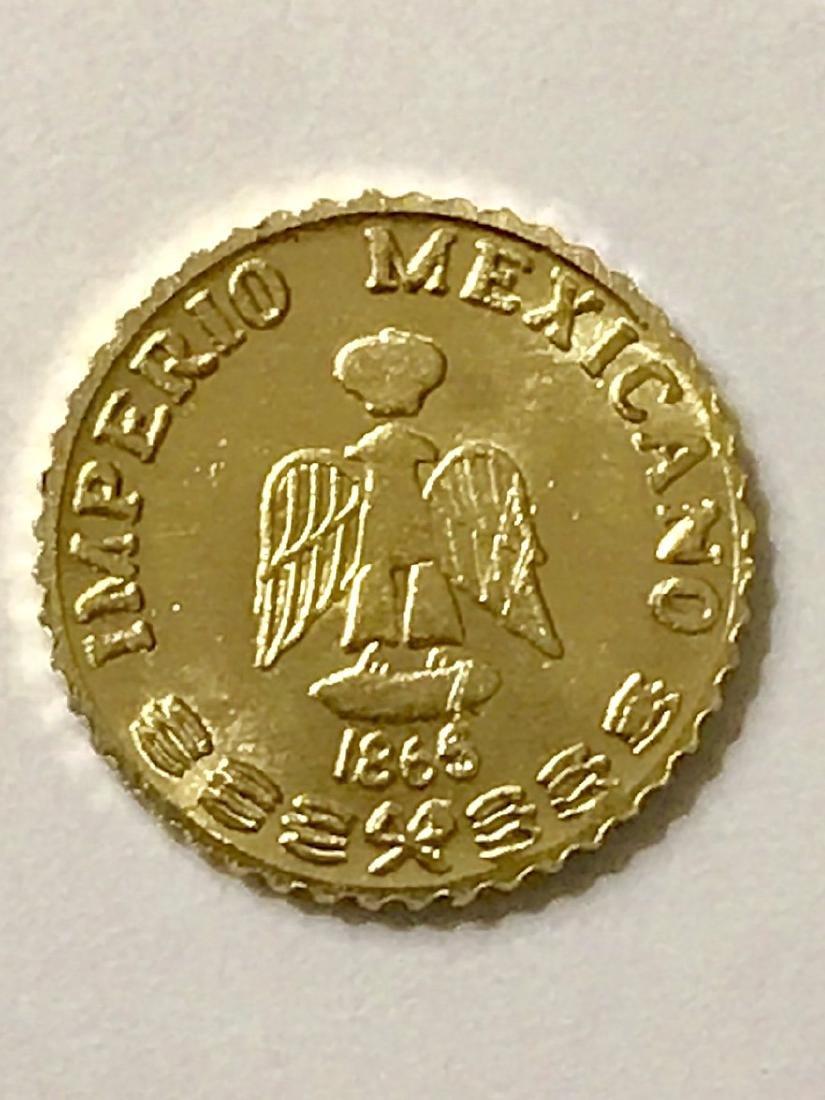 Lot of 2 – 1865 MAXIMILLIANO 0.5 Gram GOLD Pesos - 2