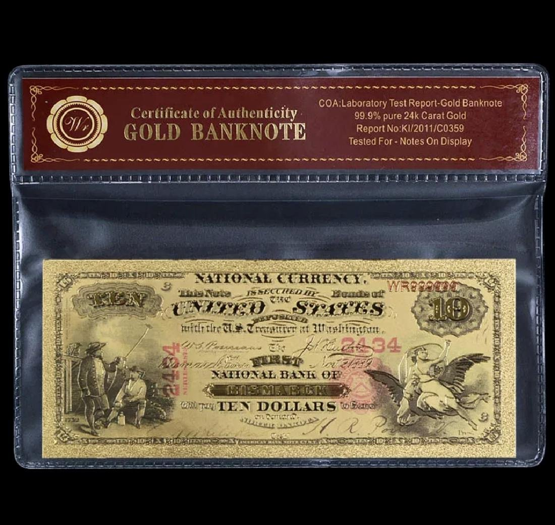 1875 Lab Tested 24k Gold $10 U.S. Banknote