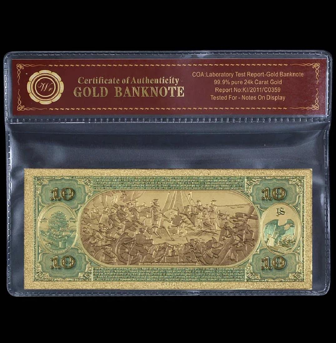 1875 Lab Tested 24k Gold $10 U.S. Banknote - 2