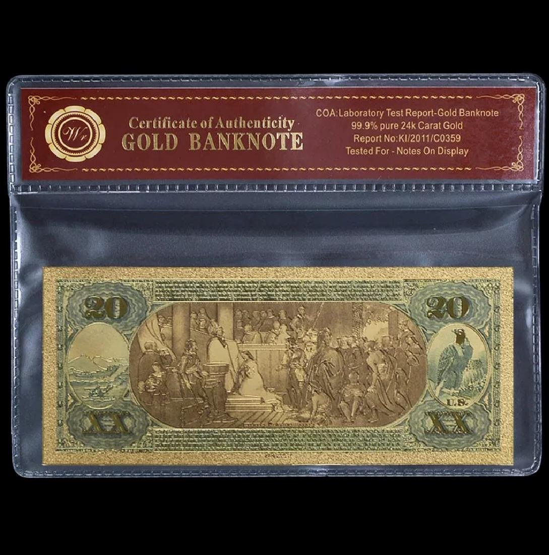 1875 Lab Tested 24k Gold $20 U.S. Banknote - 2