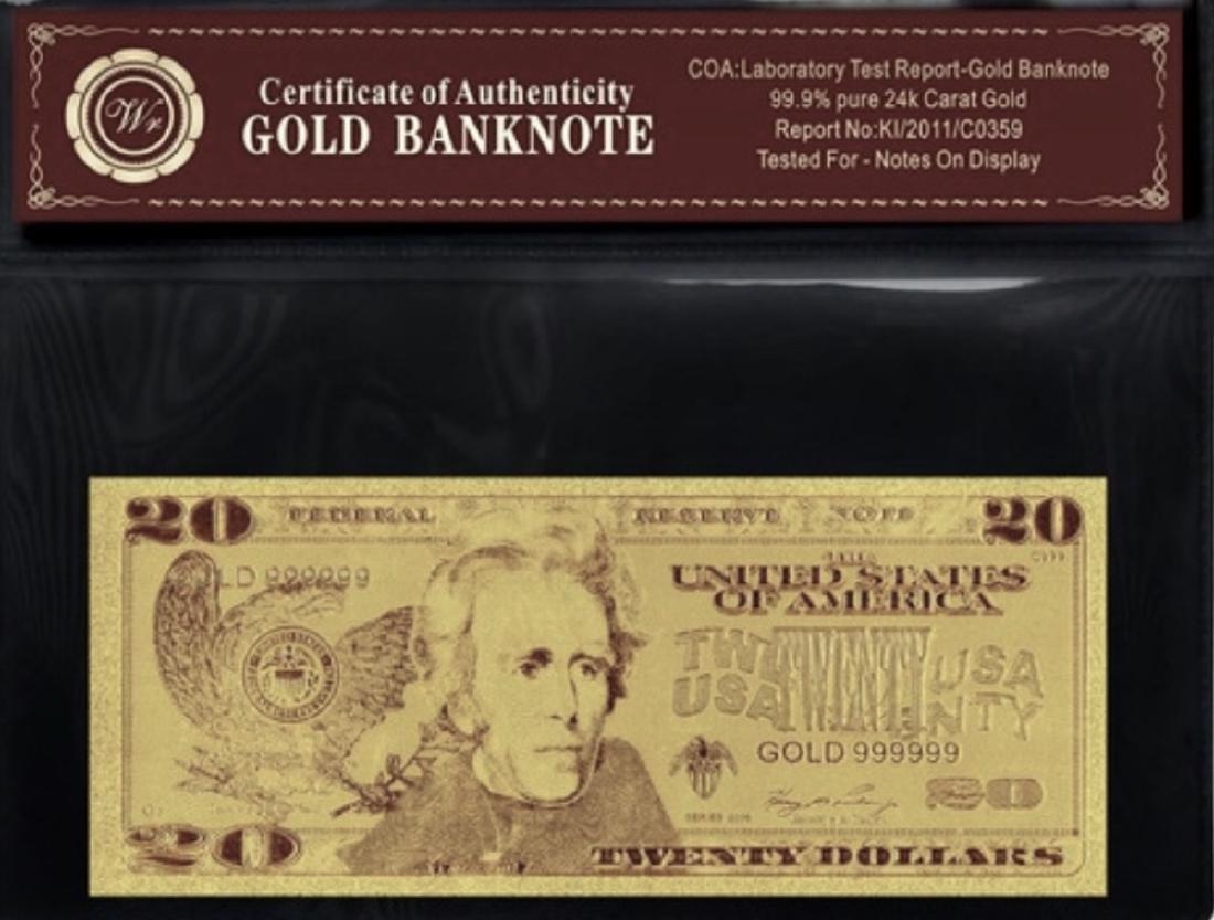 Lab Tested 24k Gold $20 Gold EAGLE U.S. Banknote