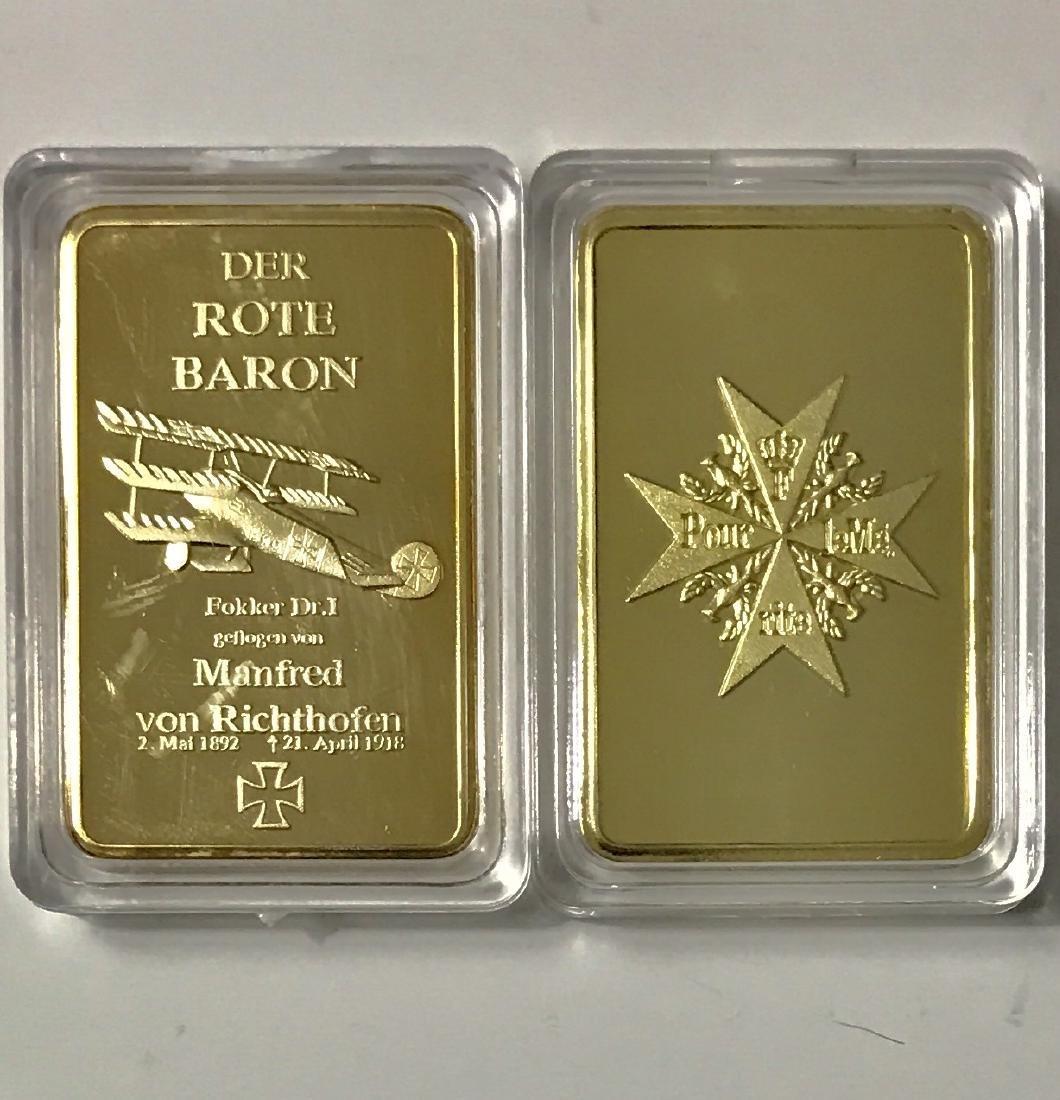 "WW1 German ""DER ROTE BARON"" Gold Clad Bar"