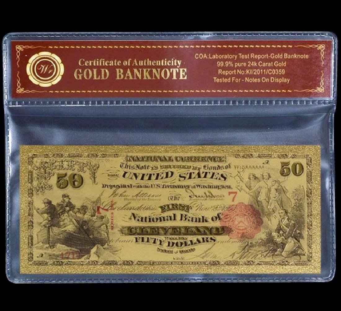 1875 Lab Tested 24k Gold $50 U.S. Banknote