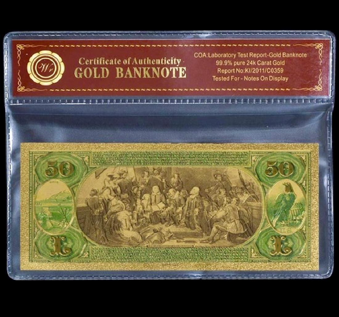 1875 Lab Tested 24k Gold $50 U.S. Banknote - 2
