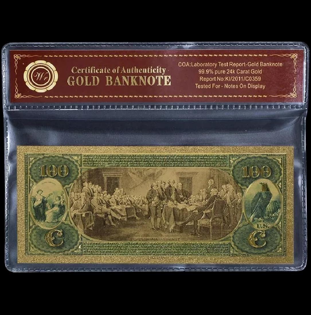 1875 Lab Tested 24k Gold $100 U.S. Banknote - 2
